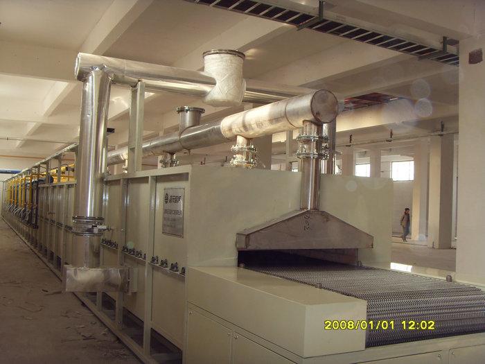 34.5米-1.36米燃气隔焰网带窑(温度:600℃,用途:催化剂)