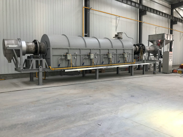 φ0.72-15米天然气回转窑(温度:980℃,用途:磨料)